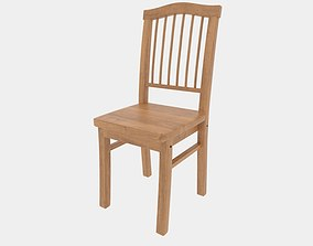 Wooden Chair 02 3D model game-ready