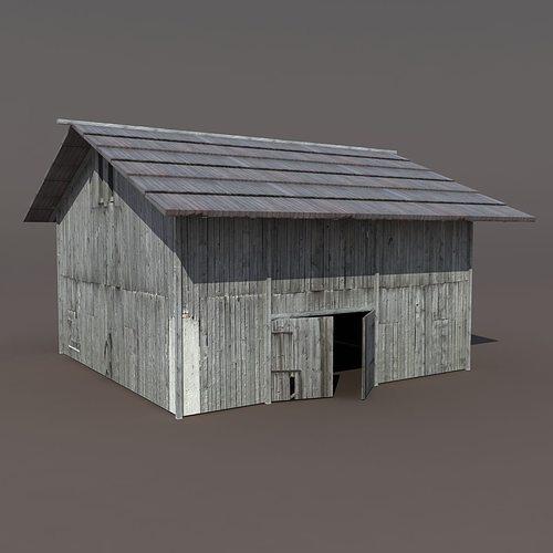 old barn 2 low poly 3d model 3d model obj mtl 3ds lwo lw lws hrc xsi blend 1