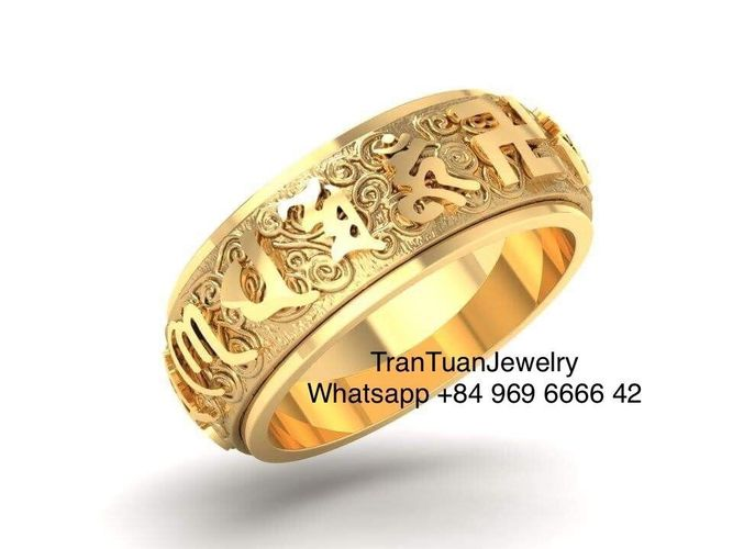 762 buddha ring with six word mantra  3d model obj mtl stl 3dm 1