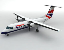 Dash 8-300 Airliner British Airways M 3D model