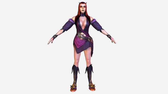 game mmo rpg character armored succub women elf 3d model max obj mtl ma mb tga 1