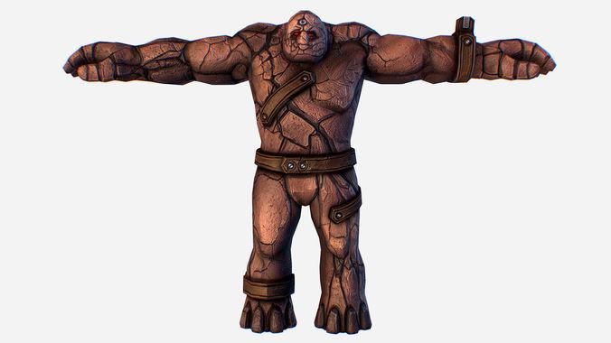 game mmo rpg character skull monster clay golem 3d model max obj mtl fbx ma mb tga 1