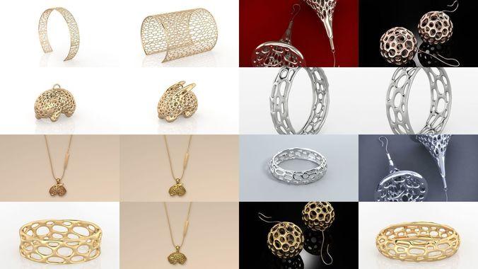 fashion voronoi jewelry collection 3d model obj mtl 3dm 1