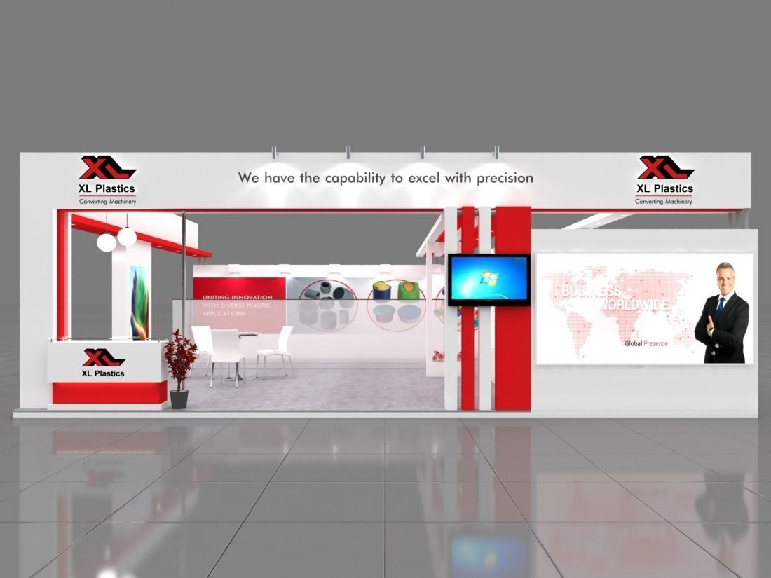 Exhibition Stand Lighting Xl : Exhibition stall 3d model 10x8 mtr 2sides open xl 2