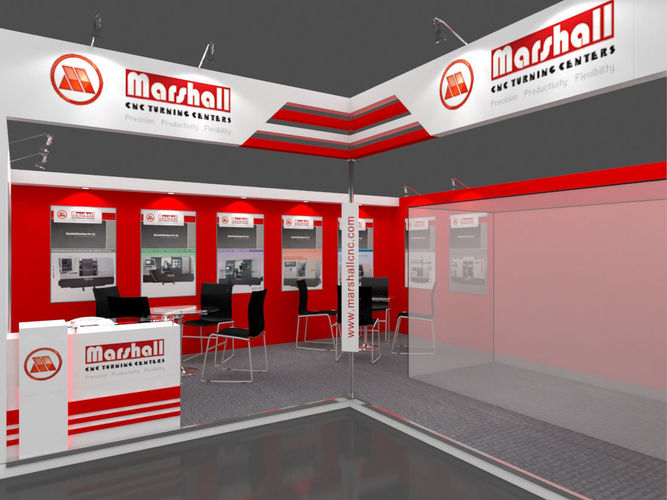 exhibition stall 3d model 27 sqmtr 2 sides open booth 3d model max 1