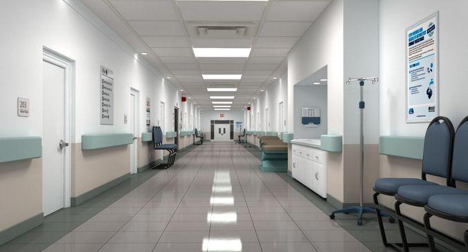 Hospital Corridor Lighting Design: 3D Hospital Hallway 2
