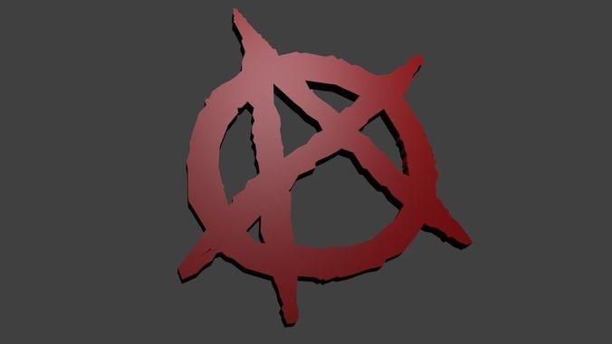 anarchy sign trinket 3d model obj mtl fbx stl blend x3d ply 1