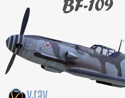 game-ready 3D model BF-109 German fighter V-Ray 2