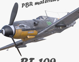low-poly 3D model BF-109 German fighter PBR materials 3D