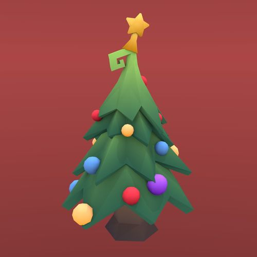 low poly tree - christmas tree 3d model obj mtl fbx blend 1