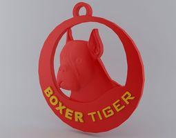 3D print model Boxer Circuler Keychain