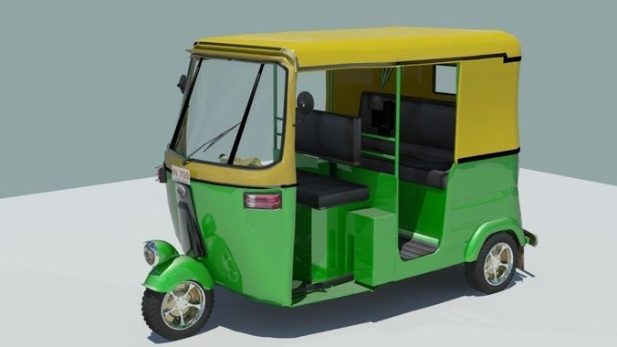 indian auto rickshaw green 3d model max obj mtl fbx 1