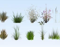 3D model Lowpoly grass set