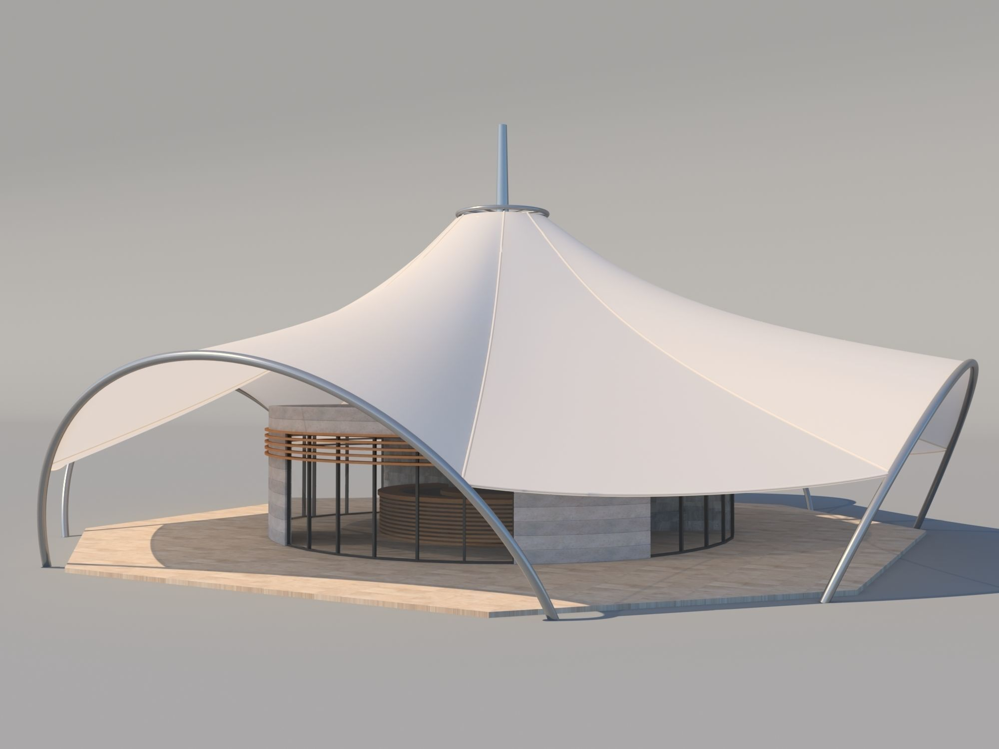 Cafe with Membran Canopy