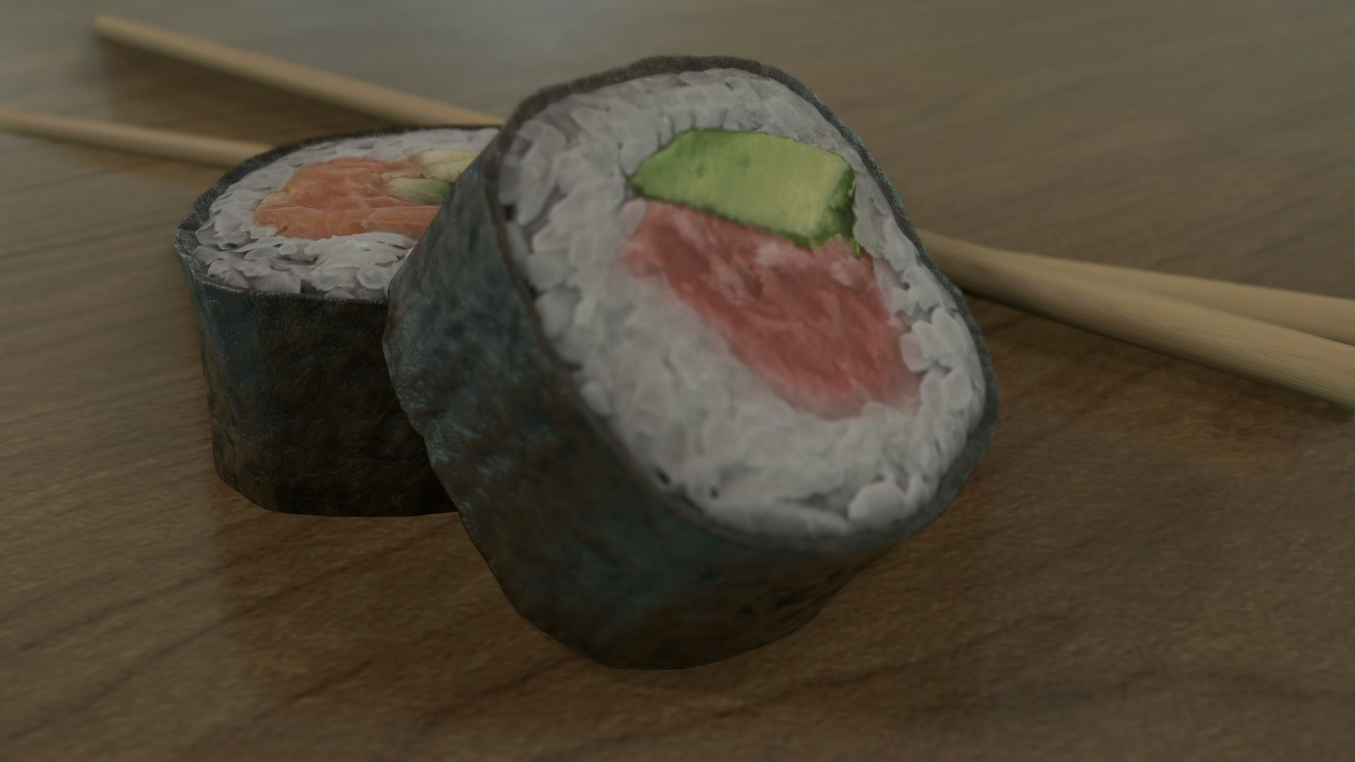 Sushi Rolls and Chopsticks