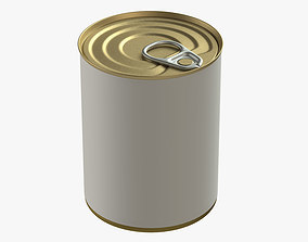 canned food round tin metal aluminium can 12 3D model