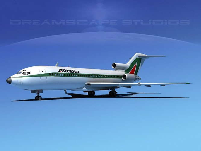 boeing 727-100 alitalia 3d model rigged max obj 3ds lwo lw lws dxf stl 1