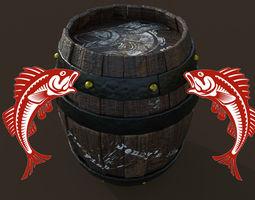 3D asset Low poly barrel