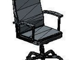 Poly Office Chair with armrest 3D asset