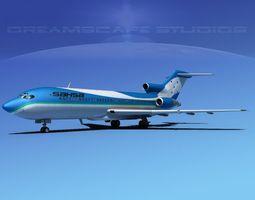 rigged 3d model boeing 727-100 sahsa