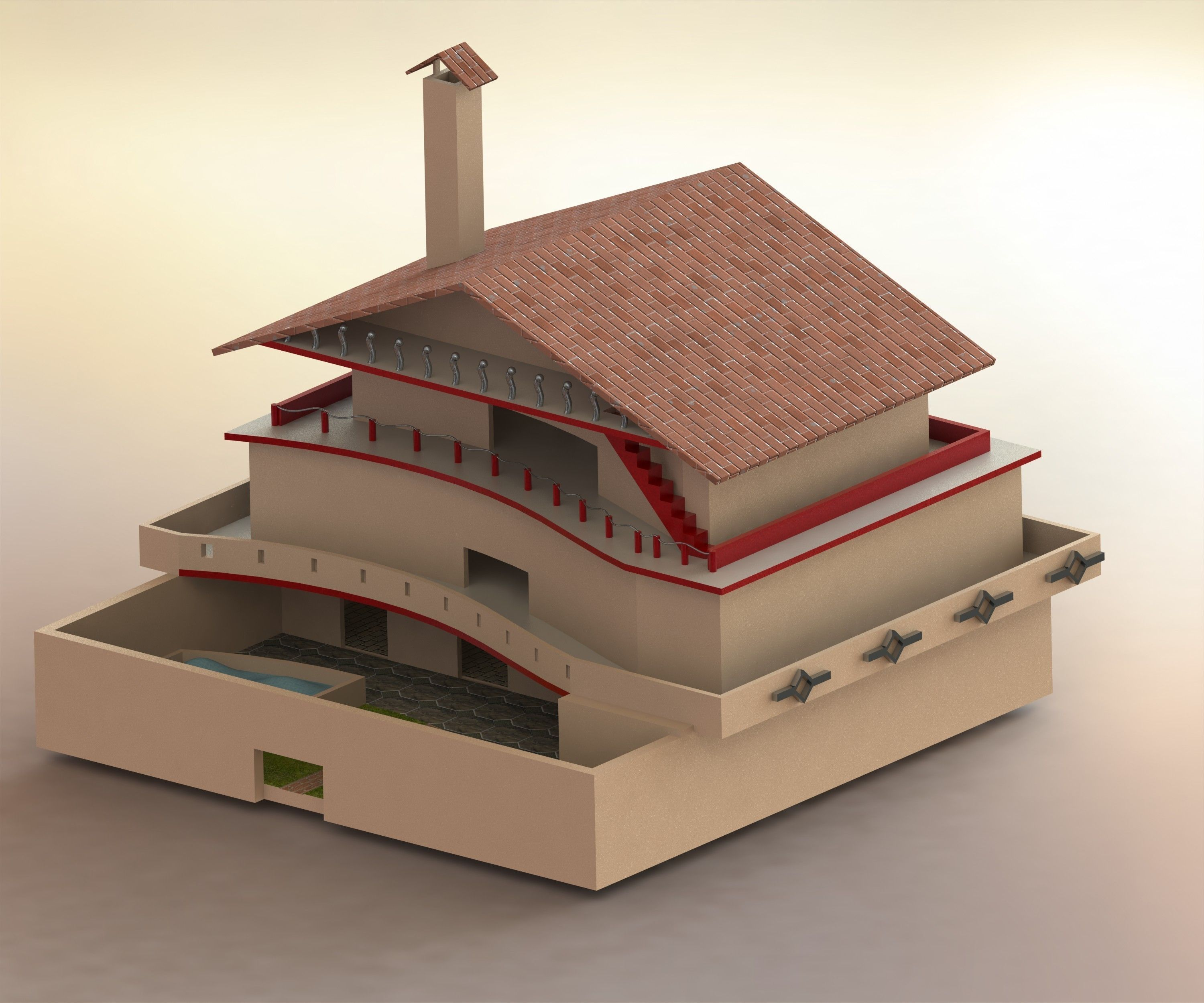 3d home with roads 3d model sldprt sldasm slddrw for Home 3d model