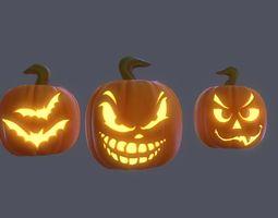 Halloween Pumpkins Pack PBR 3D asset