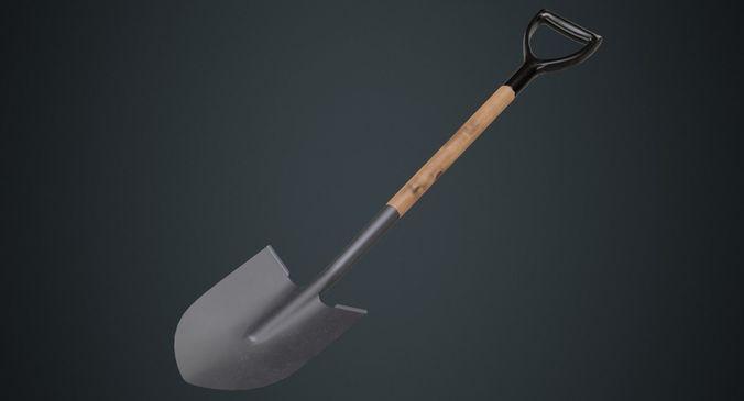 shovel 1a 3d model low-poly obj mtl fbx blend 1