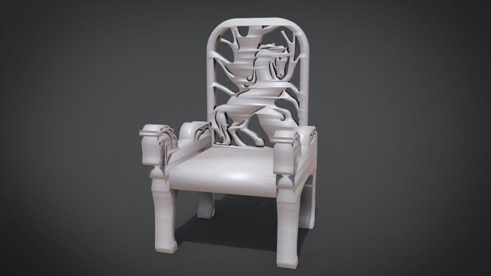 Unique Chair with a Horse Ornament