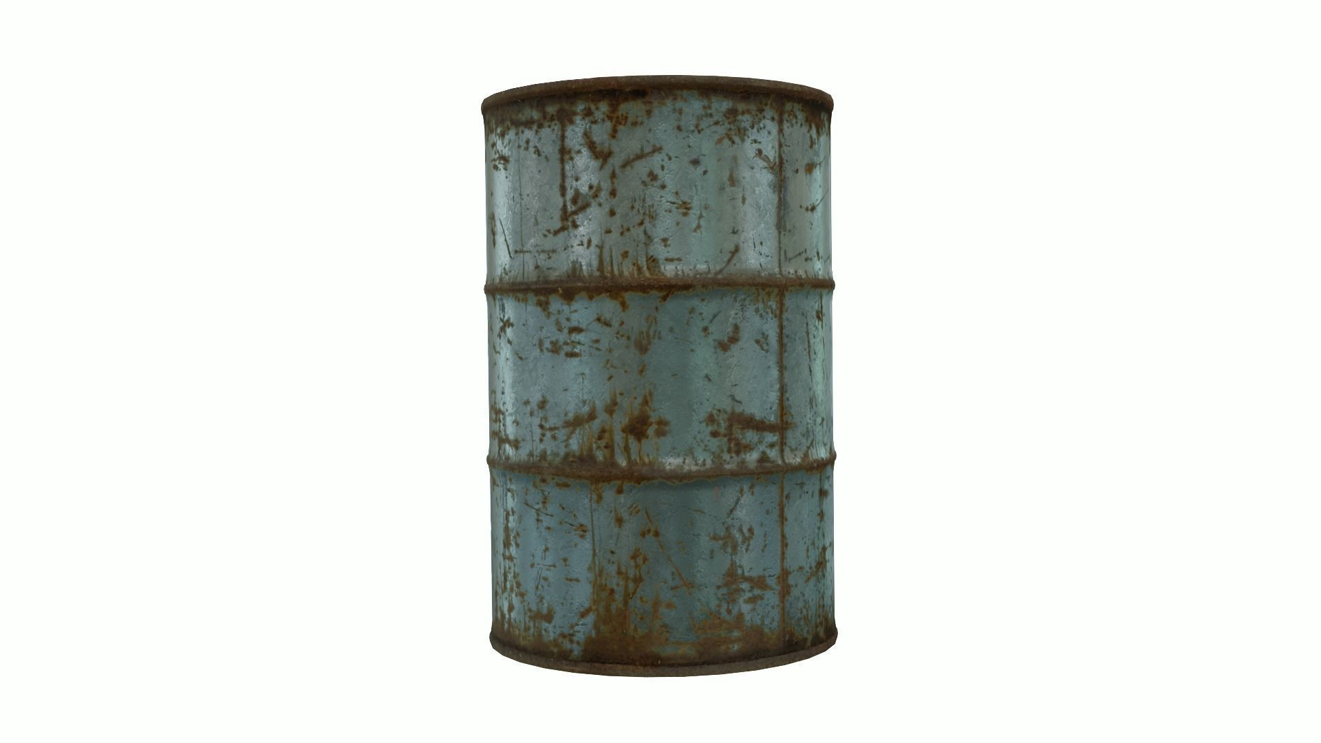 Low Poly Steel Barrel With PBR Material
