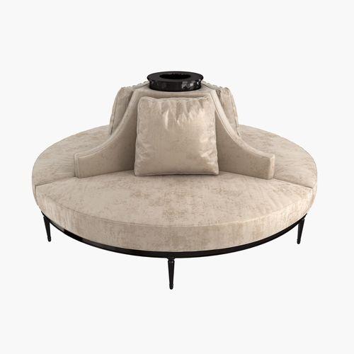 Merveilleux Custom Hand Made Center Round Settee Banquette Sofa 3D Model