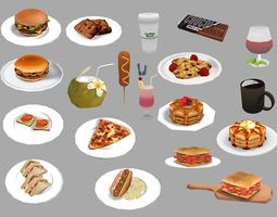 delicious 3D model Various Food and Drinks