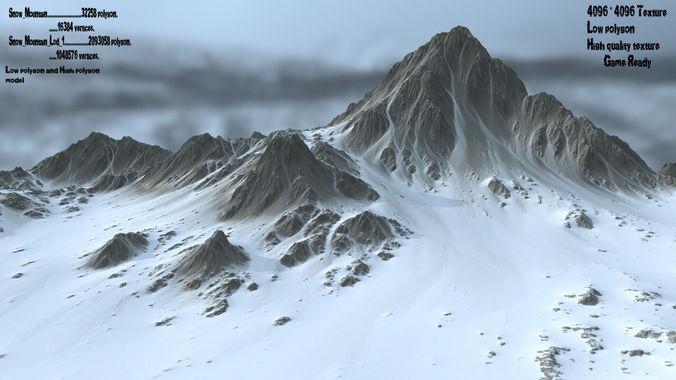 snow  mountain 3d model low-poly obj mtl fbx blend 1