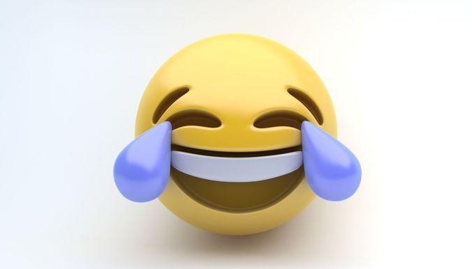 emoji joy 3d model max obj mtl 3ds fbx 1