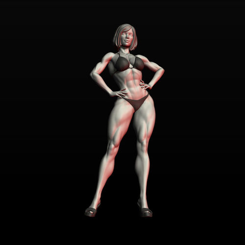 girl bodybuilder 3d model obj mtl fbx stl ztl 1