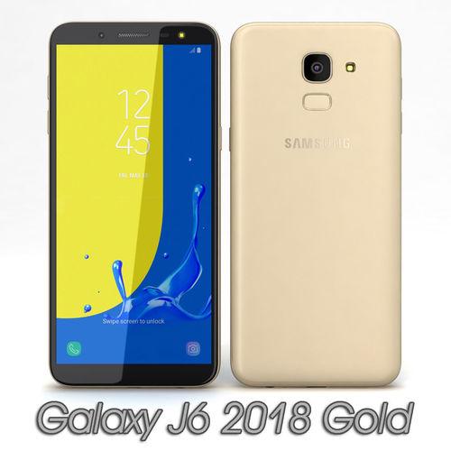 samsung galaxy j6 2018 gold 3d model max obj mtl 3ds fbx c4d 1