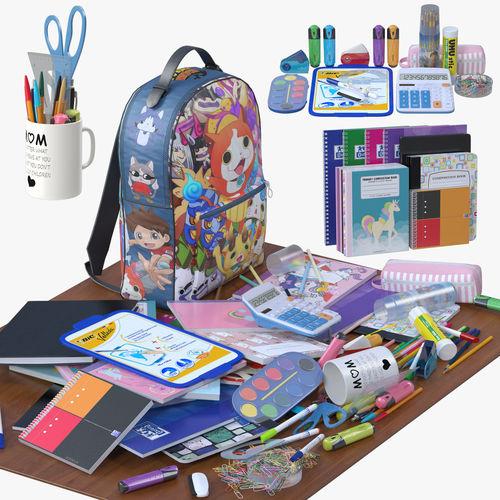 school supplies 3d model max obj mtl fbx 1