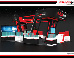 3D model Booth Analytik Jena design size 9 X 6m 54sqm