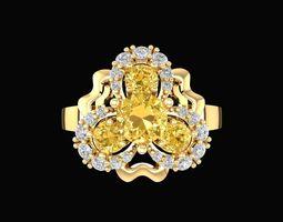 744 flower diamond ring 3d print model