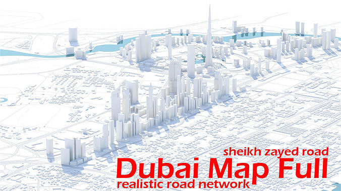 dubai skyline - sheikh zayed road 3d model fbx ma mb 1