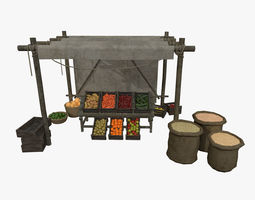 3D model LowPoly Medieval Vegetable and Fruit Stall