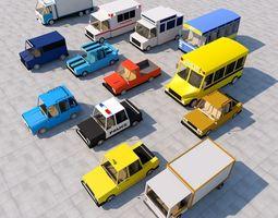 3D model Cartoon car pack animation
