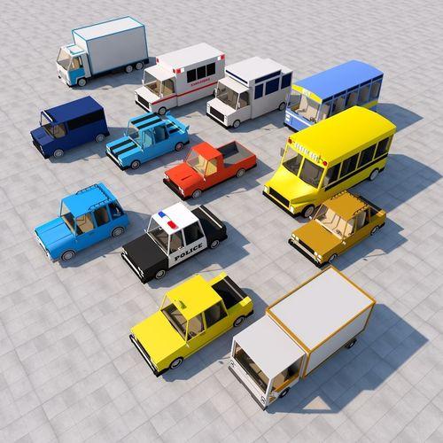cartoon car pack 3d model fbx c4d 1