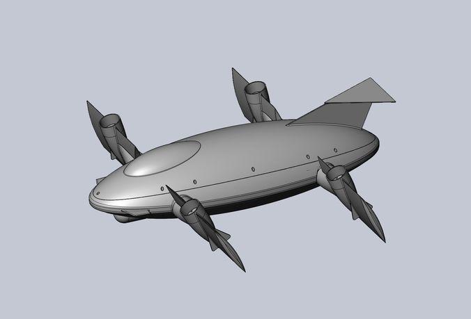 printable tiltwing tiltrotor drone body 3d model obj mtl 3ds stl sldprt sldasm slddrw 1