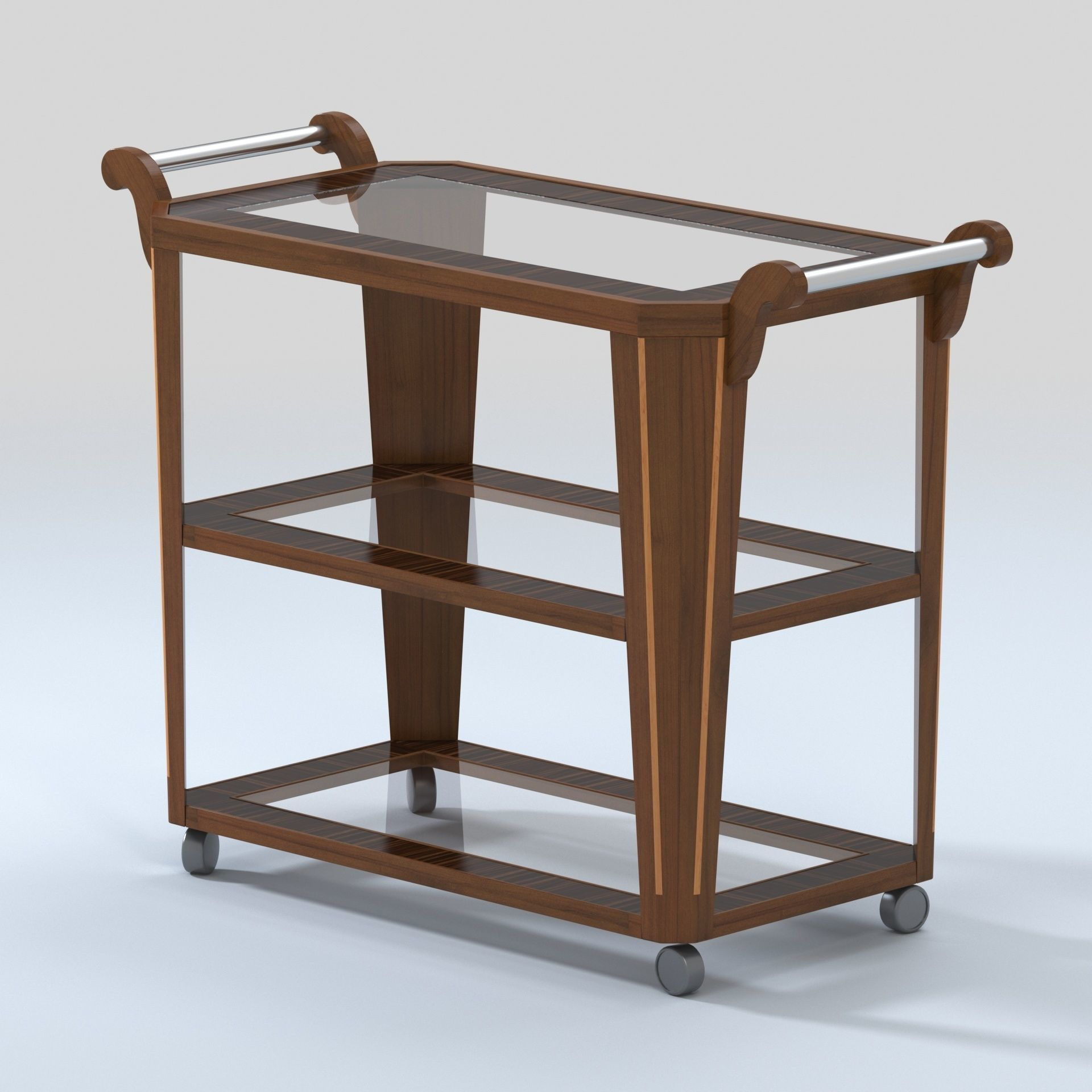 3d Model Vintage Bar Cart With Zebra Wood And Glass