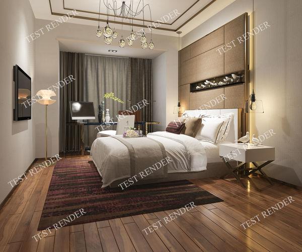 3d modern luxury modern bedroom suite in hotel with wardrobe  3d model max 3ds fbx 1