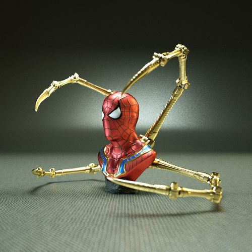 iron spider bust   - moving spider arms - 3d model obj mtl 3ds fbx c4d stl 1