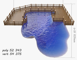 3D swimming pool wood