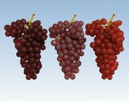 3D asset Grapes Red