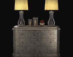 Cabinet with table lamps candles and roses 3D