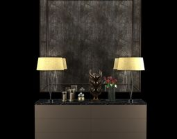 3D Cabinet with table lamps mirror sculpture candles and 1